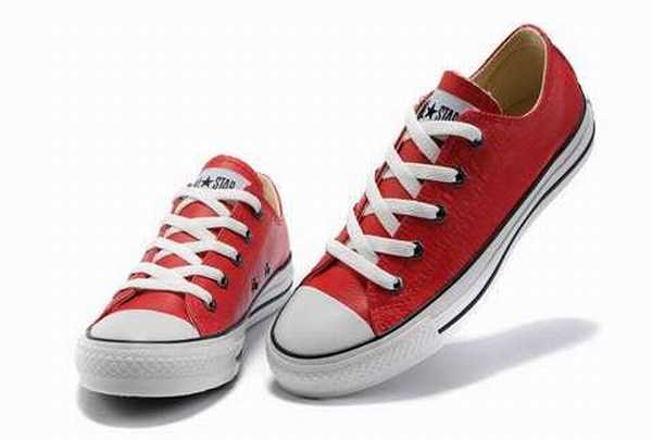 converse cuir rouge homme